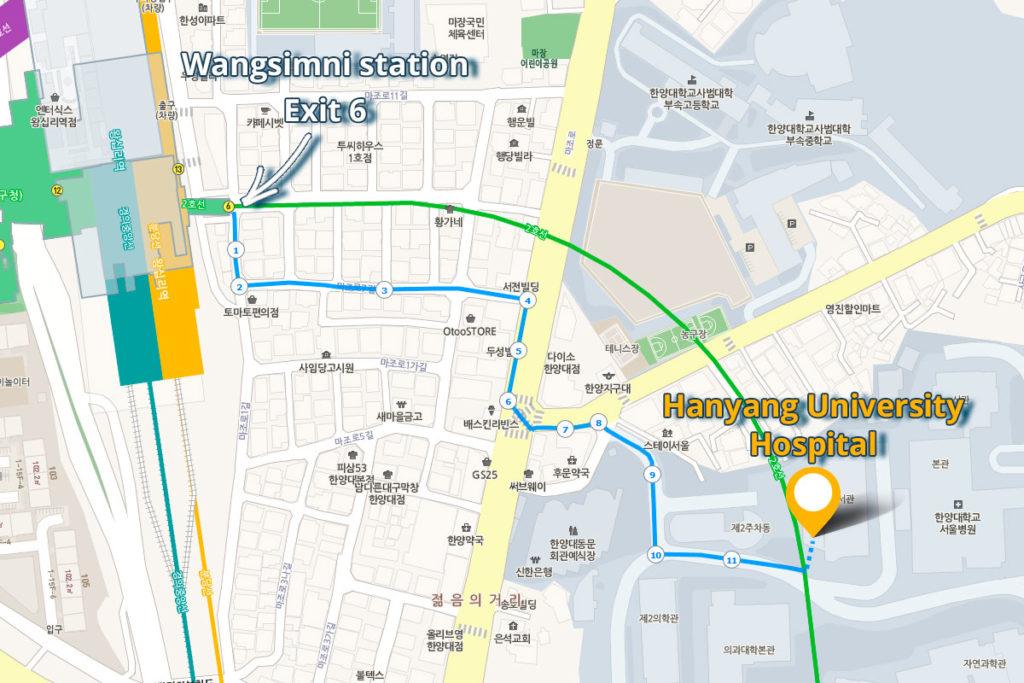 клиника Ханянг - как добраться от метро